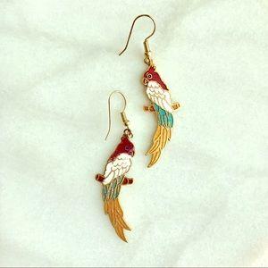 Vintage enamel parrot earrings